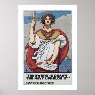 Se dibuja la espada, la marina de guerra lo póster