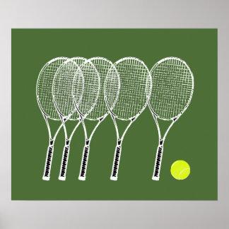 se divierte las estafas de tenis de la decoración póster