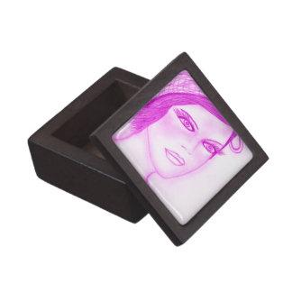 Se dobla el chica de la aleta del arco en rosas fu cajas de recuerdo de calidad