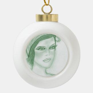 Se dobla la aleta del arco en verde oscuro adorno de cerámica en forma de bola