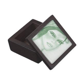 Se dobla la aleta del arco en verde oscuro caja de recuerdo de calidad
