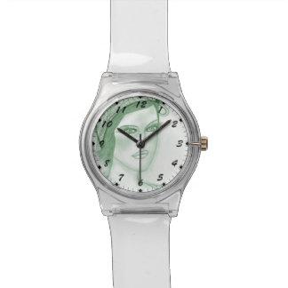 Se dobla la aleta del arco en verde oscuro reloj de mano