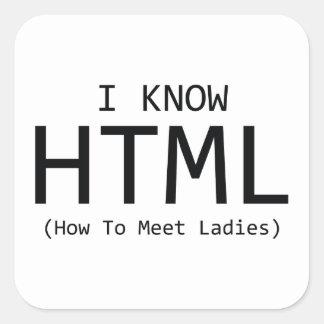 Sé el HTML (cómo encontrar a señoras) Pegatina Cuadrada