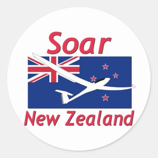 Se eleva Nueva Zelanda Pegatina Redonda