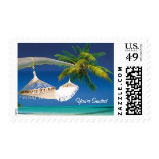 Se invita la palmera, océano y le cuelga de una sellos