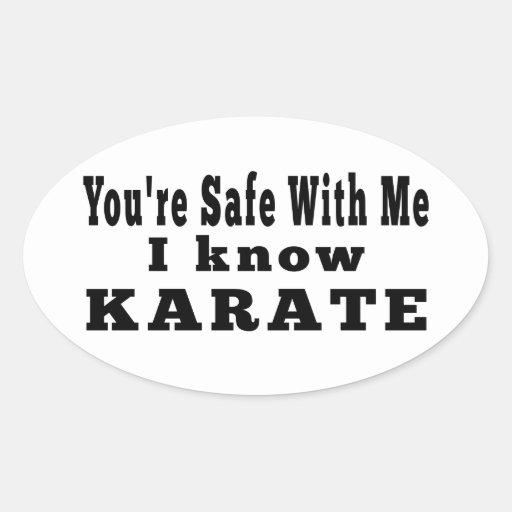 Sé karate pegatina ovalada