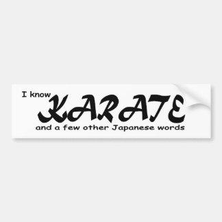 Sé karate y algunas otras palabras del japonés pegatina de parachoque