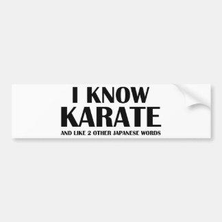 Sé karate Y como 2 otras palabras del japonés Pegatina De Parachoque