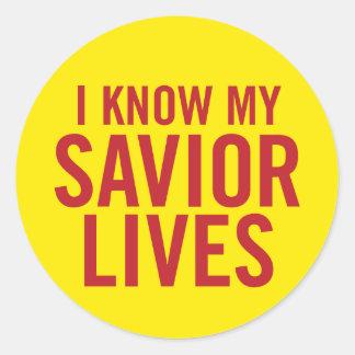 Sé mis vidas del salvador. pegatinas pegatina redonda