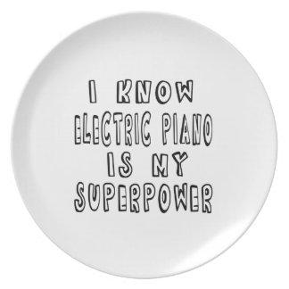 Sé que el piano eléctrico es mi superpotencia plato para fiesta