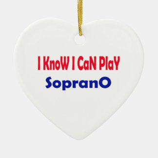 Sé que puedo jugar el Soprano. Adorno De Cerámica En Forma De Corazón