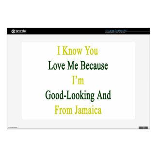 Sé que usted me ama porque soy apuesto y franco skins para 38,1cm portátil