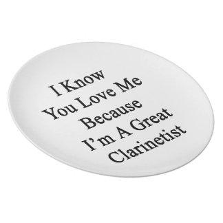 Sé que usted me ama porque soy gran Clarinetist Plato