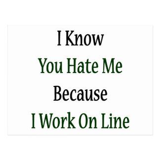 Sé que usted me odia porque trabajo en línea postales
