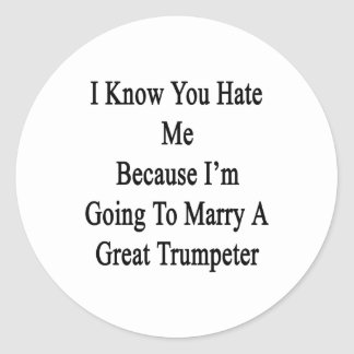Sé que usted me odia porque voy a casar A GR Pegatinas Redondas