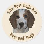 Se rescatan los mejores perros - beagle pegatina redonda