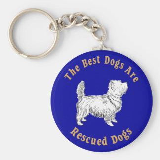 Se rescatan los mejores perros (mojón Terrier) Llavero Redondo Tipo Pin