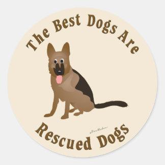Se rescatan los mejores perros - perro de pastor pegatina redonda