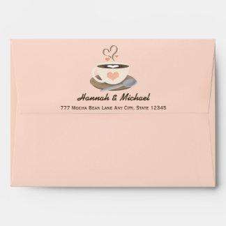 Se ruboriza el boda de la taza de café del corazón sobres