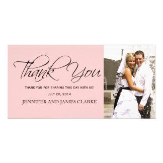 Se ruboriza el boda negro rosado le agradece las t tarjetas fotograficas