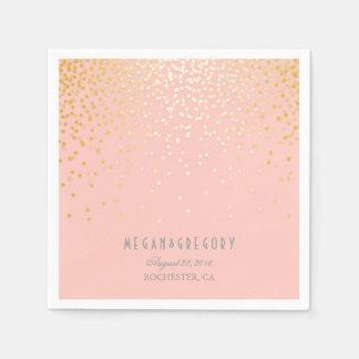 Se ruboriza el boda rosado del confeti del oro servilletas de papel