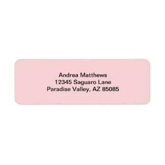 Se ruboriza el color sólido rosado etiqueta de remite