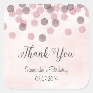 Se ruboriza el confeti rosado le agradece los pegatina cuadrada