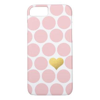 Se ruboriza el corazón rosado de la hoja de oro de funda iPhone 7