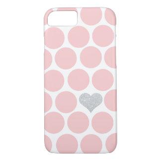 Se ruboriza el corazón rosado del brillo de la funda iPhone 7