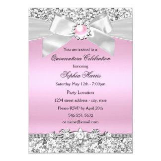 """Se ruboriza el cumpleaños rosado de Quinceanera Invitación 5"""" X 7"""""""