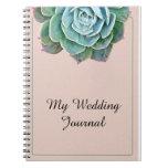 Se ruboriza el diario suculento del boda notebook