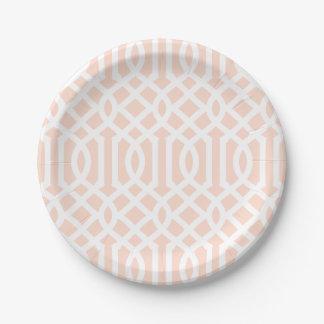Se ruboriza el enrejado rosado plato de papel de 7 pulgadas