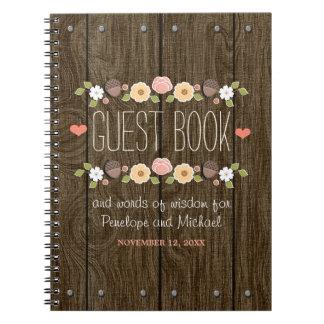 Se ruboriza el libro de visitas de madera rústico spiral notebook