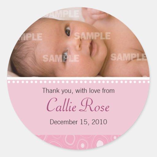 Se ruboriza el mensaje rosado del bebé de la pegatinas redondas