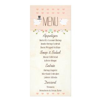 Se ruboriza el menú del boda de la paloma de los lona personalizada