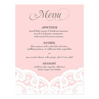 Se ruboriza el menú rosado del boda del tapetito d postal