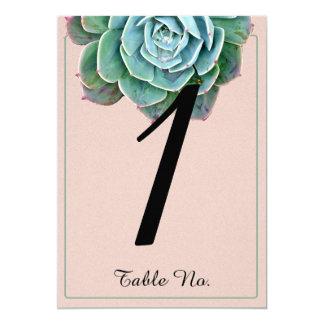 Se ruboriza el número suculento de la tabla del invitación 12,7 x 17,8 cm