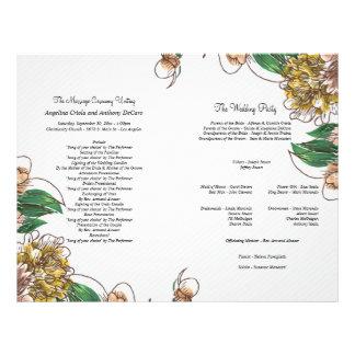 Se ruboriza el programa formal floral del boda tarjeta publicitaria