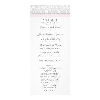 Se ruboriza el programa gris rosado del boda del tarjeta publicitaria