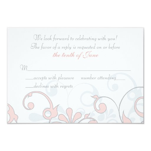 Se ruboriza el rosa, gris, tarjeta floral anuncio personalizado