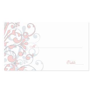 Se ruboriza el rosa gris tarjetas florales blanc