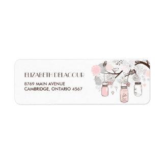 Se ruboriza la etiqueta de dirección floral rosada