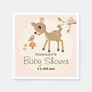 Se ruboriza la fiesta de bienvenida al bebé rosada servilleta desechable
