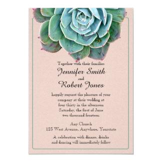 Se ruboriza la invitación suculenta del boda invitación 12,7 x 17,8 cm