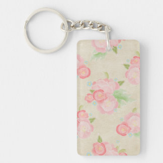 Se ruboriza la moda lamentable de los rosas llavero rectangular acrílico a doble cara