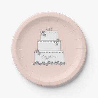 Se ruboriza la placa de postre del pastel de bodas plato de papel de 7 pulgadas
