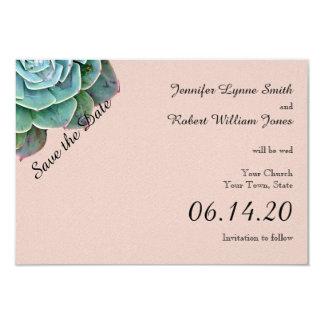 Se ruboriza la reserva suculenta del boda la fecha invitación 8,9 x 12,7 cm
