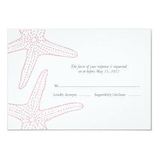 """Se ruboriza la tarjeta rosada de la respuesta de invitación 3.5"""" x 5"""""""