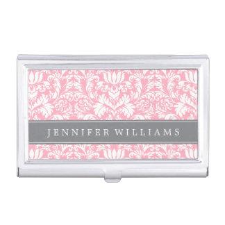 Se ruborizan el rosa y el damasco elegante gris cajas de tarjetas de negocios