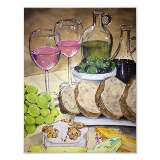 Se ruborizan impresión del vino y del queso arte con fotos